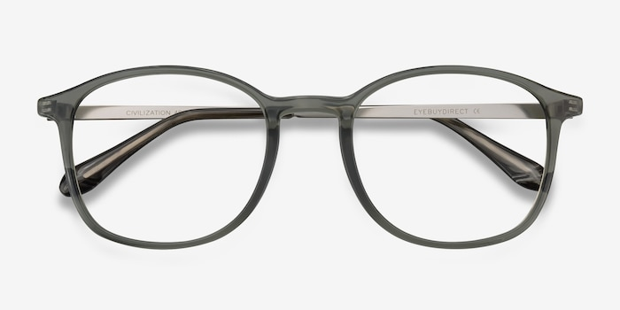 Civilization  Gray  Metal Eyeglass Frames from EyeBuyDirect, Closed View