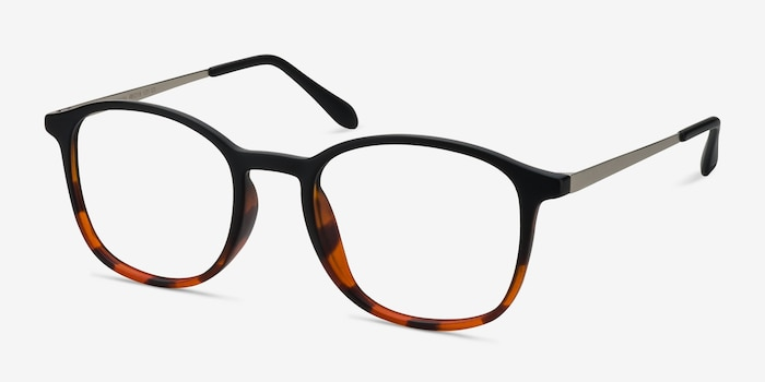 Civilization Black Brown Metal Eyeglass Frames from EyeBuyDirect, Angle View