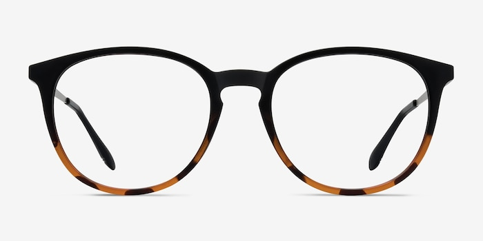 Gracious Black Tortoise Metal Eyeglass Frames from EyeBuyDirect, Front View