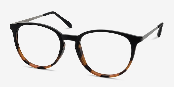 Gracious Black Tortoise Metal Eyeglass Frames from EyeBuyDirect, Angle View