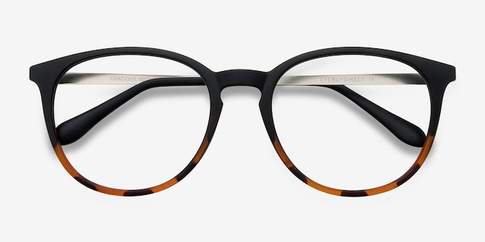 Gracious Black Tortoise Metal Eyeglass Frames from EyeBuyDirect, Closed View