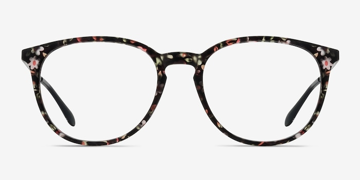 Gracious Pink Floral Metal Eyeglass Frames from EyeBuyDirect, Front View