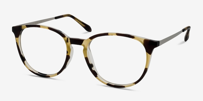 Gracious Light Tortoise Metal Eyeglass Frames from EyeBuyDirect, Angle View