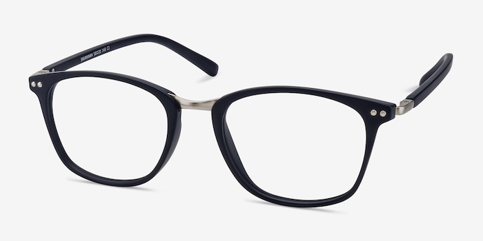 Savannah Matte Navy Metal Eyeglass Frames from EyeBuyDirect, Angle View
