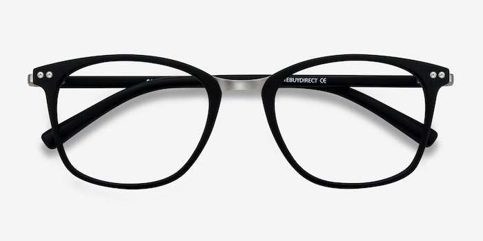 Savannah Matte Black Metal Eyeglass Frames from EyeBuyDirect, Closed View