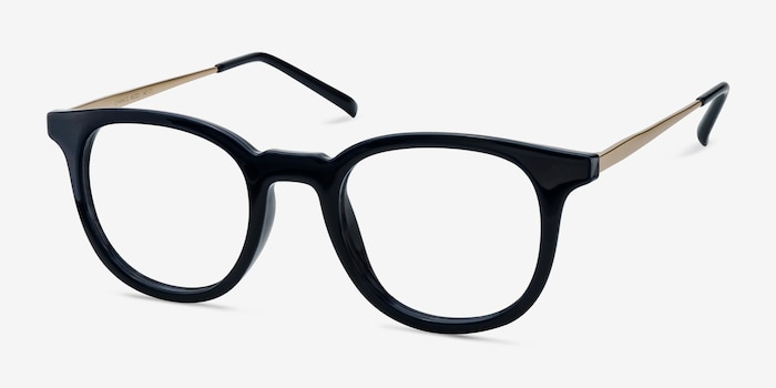 Chance Navy Plastic Eyeglass Frames from EyeBuyDirect, Angle View