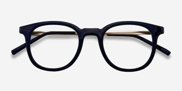 Chance Navy Metal Eyeglass Frames from EyeBuyDirect, Closed View