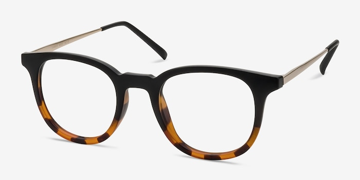 Chance Striped Black Métal Montures de Lunettes d'EyeBuyDirect, Vue d'Angle
