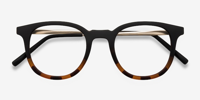 Chance Striped Black Metal Eyeglass Frames from EyeBuyDirect, Closed View