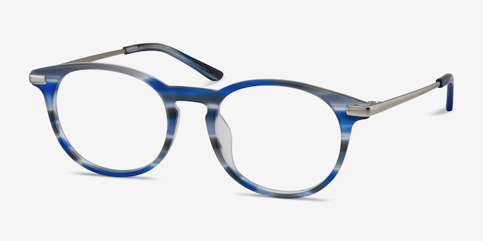 Mood Blue Striped Acetate Eyeglass Frames from EyeBuyDirect, Angle View