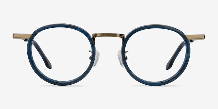 Maybe You Blue Acetate Eyeglass Frames from EyeBuyDirect, Front View