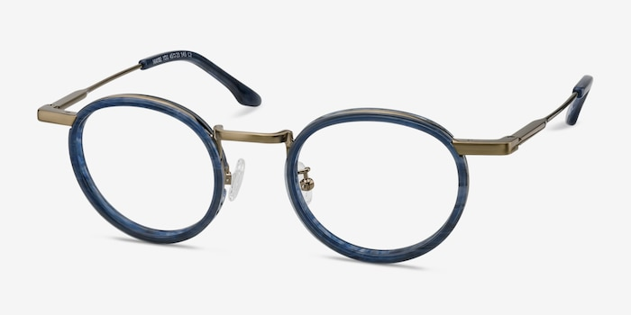 Maybe You Blue Acetate Eyeglass Frames from EyeBuyDirect, Angle View