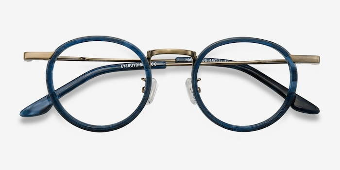 Maybe You Blue Acetate Eyeglass Frames from EyeBuyDirect, Closed View