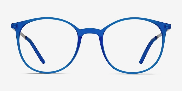 Tangent Blue Metal Eyeglass Frames from EyeBuyDirect, Front View