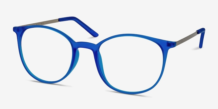 Tangent Blue Metal Eyeglass Frames from EyeBuyDirect, Angle View