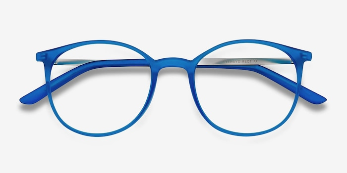 Tangent Blue Metal Eyeglass Frames from EyeBuyDirect, Closed View