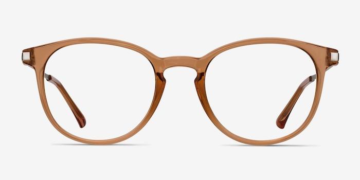 Mirando Light Brown Metal Eyeglass Frames from EyeBuyDirect, Front View