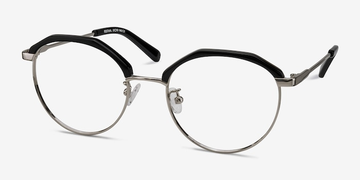 Festival Black Acetate Eyeglass Frames from EyeBuyDirect, Angle View