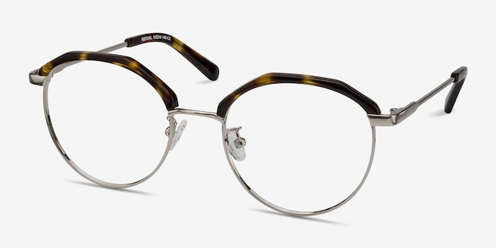 Festival Tortoise Acetate Eyeglass Frames from EyeBuyDirect, Angle View