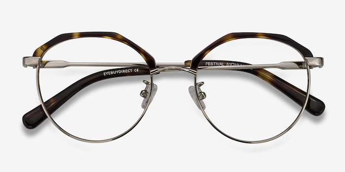 Festival Tortoise Acetate Eyeglass Frames from EyeBuyDirect, Closed View