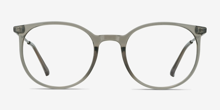 Marilou Clear Gray Metal Eyeglass Frames from EyeBuyDirect, Front View