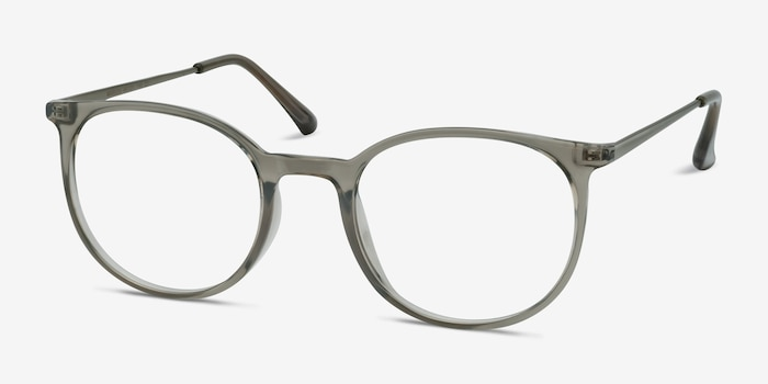 Marilou Clear Gray Metal Eyeglass Frames from EyeBuyDirect, Angle View