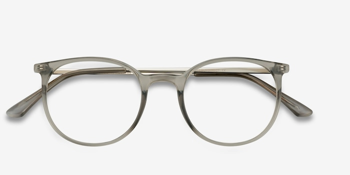 Marilou Clear Gray Metal Eyeglass Frames from EyeBuyDirect, Closed View