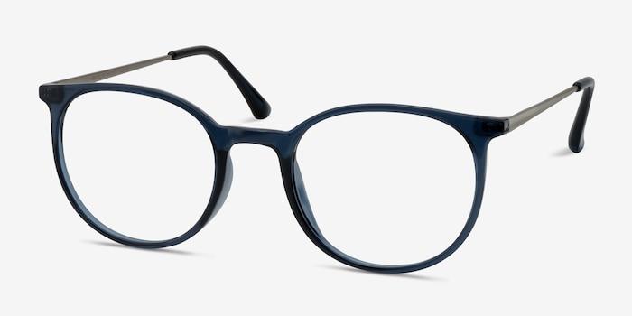 Marilou Clear Cobalt Métal Montures de Lunettes d'EyeBuyDirect, Vue d'Angle