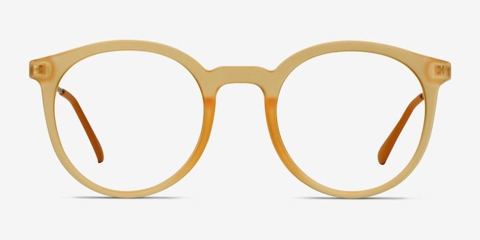 Grin Matte Yellow Metal Eyeglass Frames from EyeBuyDirect, Front View