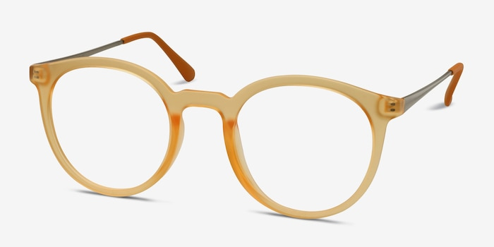Grin Matte Yellow Metal Eyeglass Frames from EyeBuyDirect, Angle View