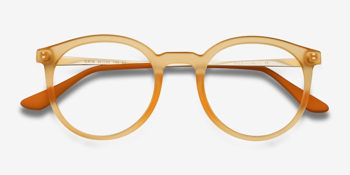Grin Matte Yellow Metal Eyeglass Frames from EyeBuyDirect, Closed View