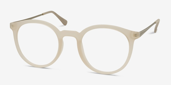 Grin Matte Clear Metal Eyeglass Frames from EyeBuyDirect, Angle View