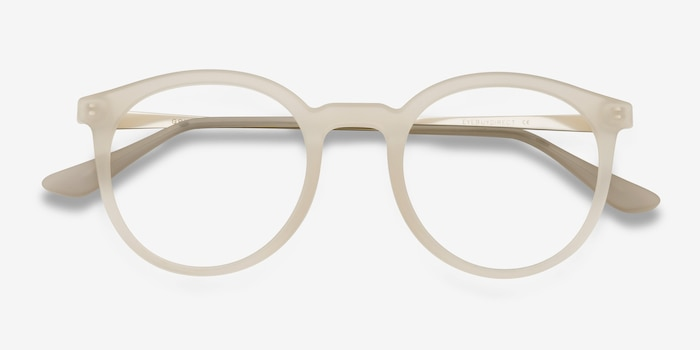 Grin Matte Clear Metal Eyeglass Frames from EyeBuyDirect, Closed View