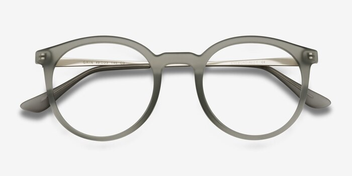 Grin Matte Gray Metal Eyeglass Frames from EyeBuyDirect, Closed View