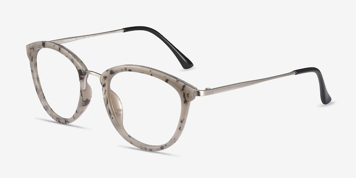 Lightworks Speckled Gray Métal Montures de Lunettes d'EyeBuyDirect, Vue d'Angle