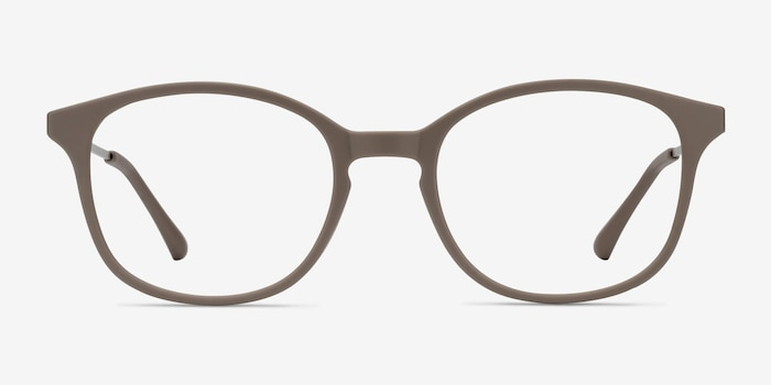Villa Taupe Metal Eyeglass Frames from EyeBuyDirect, Front View