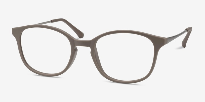 Villa Taupe Metal Eyeglass Frames from EyeBuyDirect, Angle View