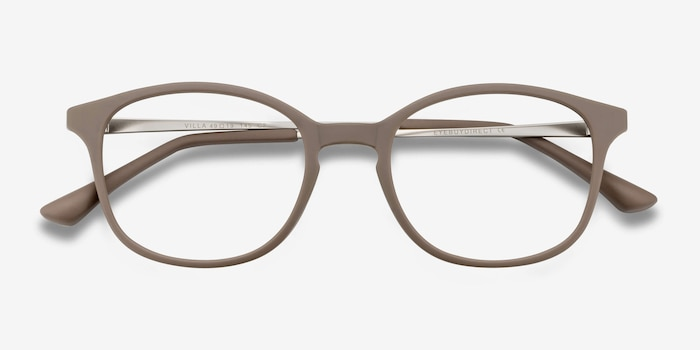 Villa Taupe Metal Eyeglass Frames from EyeBuyDirect, Closed View