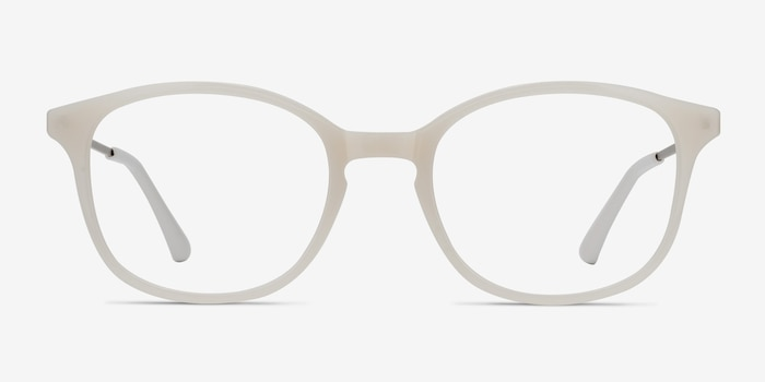 Villa White Metal Eyeglass Frames from EyeBuyDirect, Front View