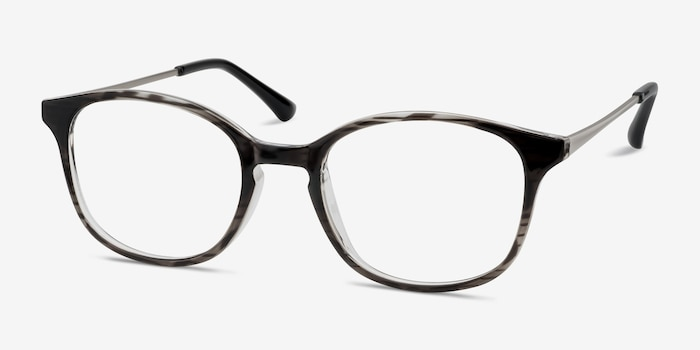 Villa Black striped Metal Eyeglass Frames from EyeBuyDirect, Angle View