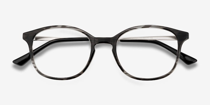 Villa Black striped Metal Eyeglass Frames from EyeBuyDirect, Closed View
