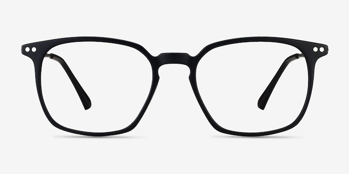 Ghostwriter Matte Black Metal Eyeglass Frames from EyeBuyDirect, Front View