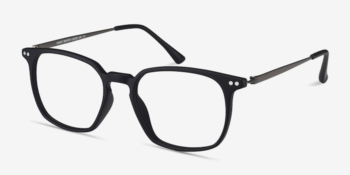 Ghostwriter Matte Black Metal Eyeglass Frames from EyeBuyDirect, Angle View