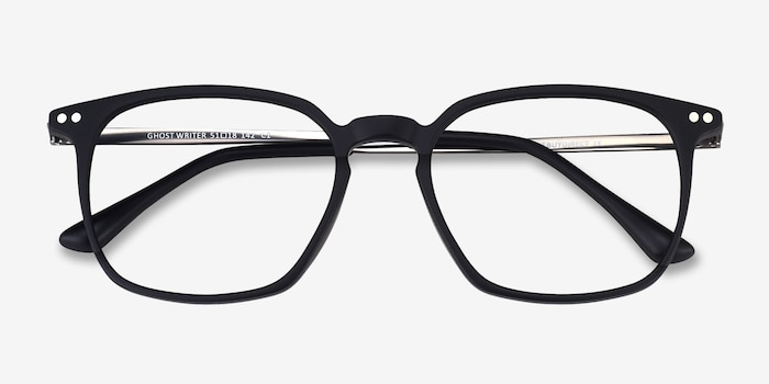 Ghostwriter Matte Black Metal Eyeglass Frames from EyeBuyDirect, Closed View