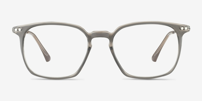 Ghostwriter Gray Metal Eyeglass Frames from EyeBuyDirect, Front View