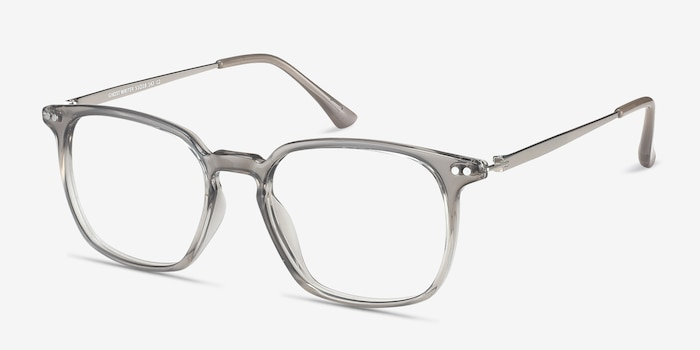 Ghostwriter Gray Metal Eyeglass Frames from EyeBuyDirect, Angle View