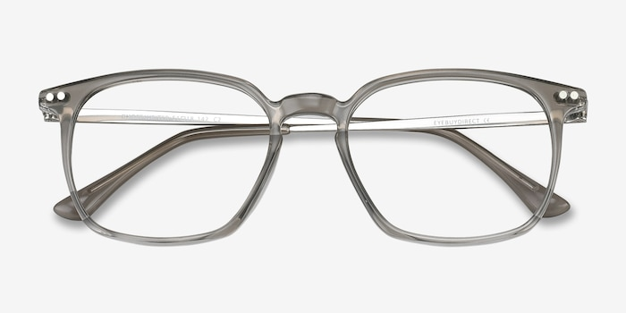 Ghostwriter Gray Metal Eyeglass Frames from EyeBuyDirect, Closed View