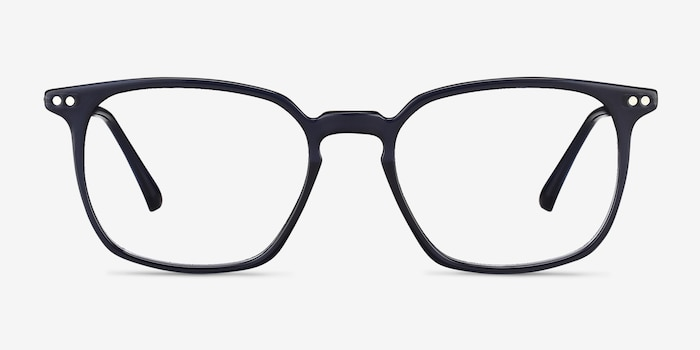 Ghostwriter Navy Metal Eyeglass Frames from EyeBuyDirect, Front View