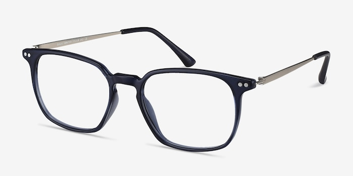 Ghostwriter Navy Metal Eyeglass Frames from EyeBuyDirect, Angle View