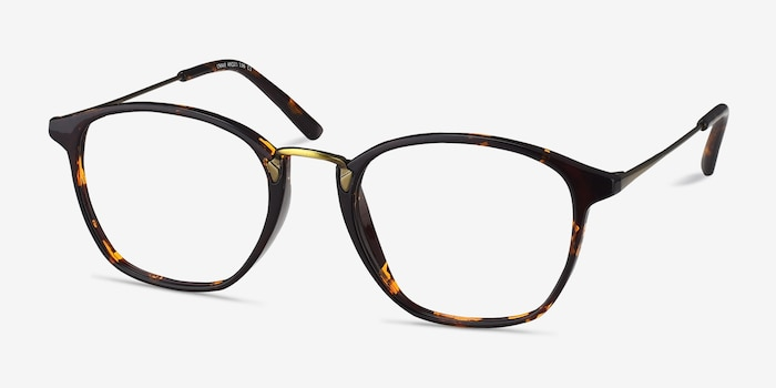 Crave Tortoise Metal Eyeglass Frames from EyeBuyDirect, Angle View
